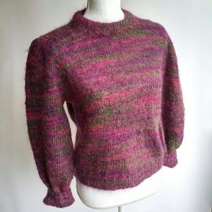 Handmade Rainbow Fuzzy Puffy Long Sleeve Sweater